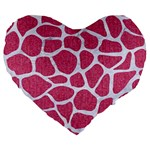 SKIN1 WHITE MARBLE & PINK DENIM (R) Large 19  Premium Flano Heart Shape Cushions Front