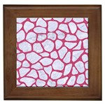 SKIN1 WHITE MARBLE & PINK DENIM Framed Tiles Front