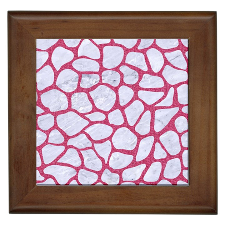 SKIN1 WHITE MARBLE & PINK DENIM Framed Tiles