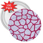 SKIN1 WHITE MARBLE & PINK DENIM 3  Buttons (100 pack)  Front