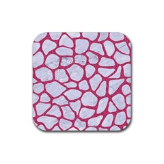 Skin1 White Marble & Pink Denim Rubber Coaster (square)