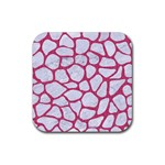 SKIN1 WHITE MARBLE & PINK DENIM Rubber Coaster (Square)  Front