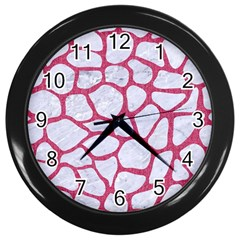 Skin1 White Marble & Pink Denim Wall Clocks (black) by trendistuff