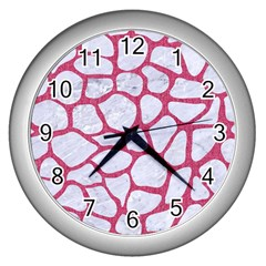 Skin1 White Marble & Pink Denim Wall Clocks (silver)  by trendistuff