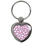 SKIN1 WHITE MARBLE & PINK DENIM Key Chains (Heart)  Front