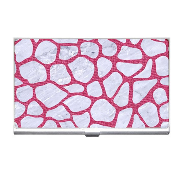 SKIN1 WHITE MARBLE & PINK DENIM Business Card Holders