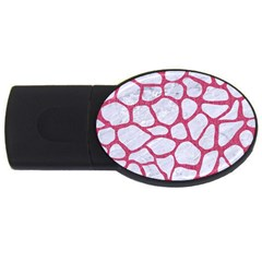 Skin1 White Marble & Pink Denim Usb Flash Drive Oval (2 Gb)