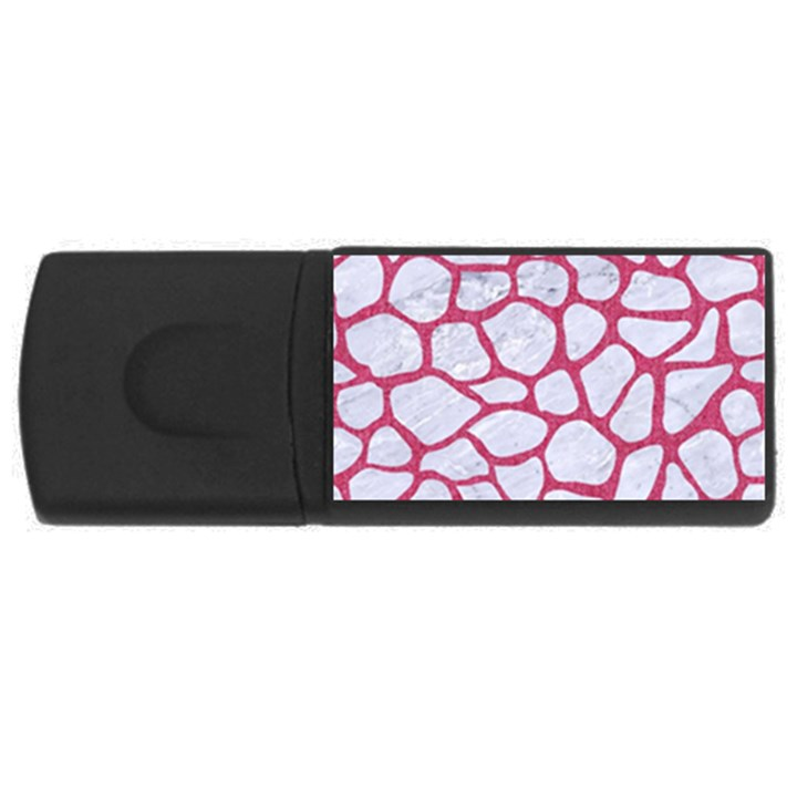 SKIN1 WHITE MARBLE & PINK DENIM Rectangular USB Flash Drive