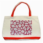 SKIN1 WHITE MARBLE & PINK DENIM Classic Tote Bag (Red) Front