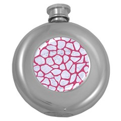Skin1 White Marble & Pink Denim Round Hip Flask (5 Oz) by trendistuff