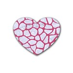 SKIN1 WHITE MARBLE & PINK DENIM Heart Coaster (4 pack)  Front