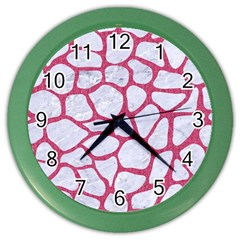 Skin1 White Marble & Pink Denim Color Wall Clocks by trendistuff