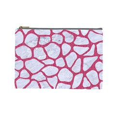 Skin1 White Marble & Pink Denim Cosmetic Bag (large)  by trendistuff