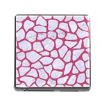 SKIN1 WHITE MARBLE & PINK DENIM Memory Card Reader (Square) Front