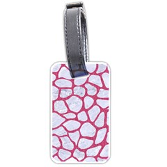 Skin1 White Marble & Pink Denim Luggage Tags (one Side)  by trendistuff