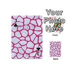 SKIN1 WHITE MARBLE & PINK DENIM Playing Cards 54 (Mini)  Front - Club3