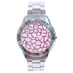 SKIN1 WHITE MARBLE & PINK DENIM Stainless Steel Analogue Watch Front