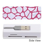 SKIN1 WHITE MARBLE & PINK DENIM Memory Card Reader (Stick)  Front