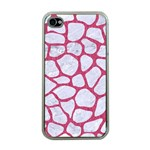 SKIN1 WHITE MARBLE & PINK DENIM Apple iPhone 4 Case (Clear) Front