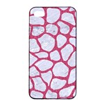 SKIN1 WHITE MARBLE & PINK DENIM Apple iPhone 4/4s Seamless Case (Black) Front