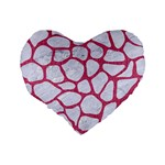 SKIN1 WHITE MARBLE & PINK DENIM Standard 16  Premium Heart Shape Cushions Back