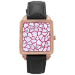 SKIN1 WHITE MARBLE & PINK DENIM Rose Gold Leather Watch  Front