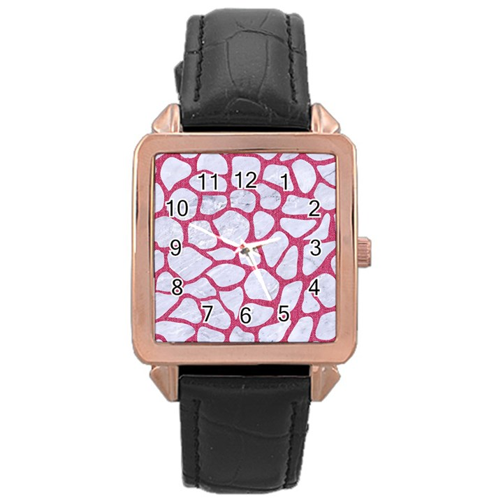 SKIN1 WHITE MARBLE & PINK DENIM Rose Gold Leather Watch