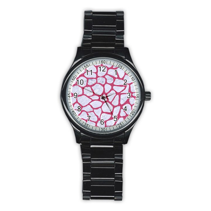 SKIN1 WHITE MARBLE & PINK DENIM Stainless Steel Round Watch