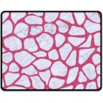 SKIN1 WHITE MARBLE & PINK DENIM Double Sided Fleece Blanket (Medium)  58.8 x47.4 Blanket Back