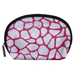 Skin1 White Marble & Pink Denim Accessory Pouches (large)  by trendistuff