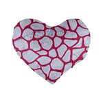 SKIN1 WHITE MARBLE & PINK DENIM Standard 16  Premium Flano Heart Shape Cushions Front