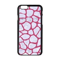 Skin1 White Marble & Pink Denim Apple Iphone 6/6s Black Enamel Case by trendistuff