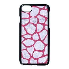 Skin1 White Marble & Pink Denim Apple Iphone 7 Seamless Case (black) by trendistuff
