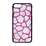 SKIN1 WHITE MARBLE & PINK DENIM Apple iPhone 8 Plus Seamless Case (Black) Front