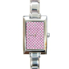 SCALES3 WHITE MARBLE & PINK DENIM (R) Rectangle Italian Charm Watch