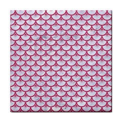 SCALES3 WHITE MARBLE & PINK DENIM (R) Tile Coasters