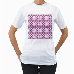 Scales3 White Marble & Pink Denim (r) Women s T Shirt (white) (two Sided) by trendistuff