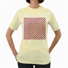 Scales3 White Marble & Pink Denim (r) Women s Yellow T Shirt