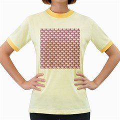 Scales3 White Marble & Pink Denim (r) Women s Fitted Ringer T Shirts by trendistuff