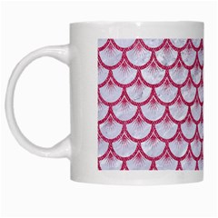 Scales3 White Marble & Pink Denim (r) White Mugs