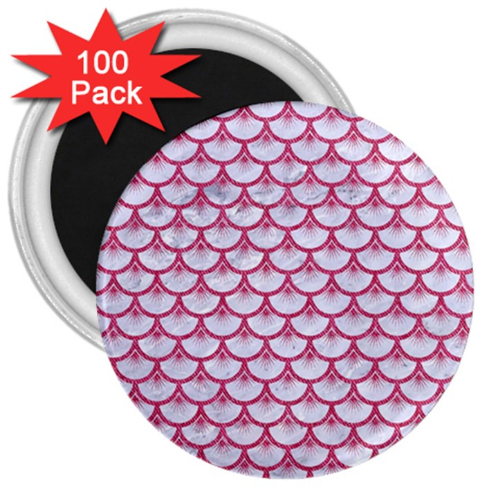 SCALES3 WHITE MARBLE & PINK DENIM (R) 3  Magnets (100 pack)