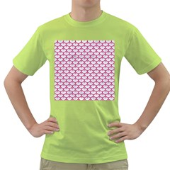 SCALES3 WHITE MARBLE & PINK DENIM (R) Green T-Shirt