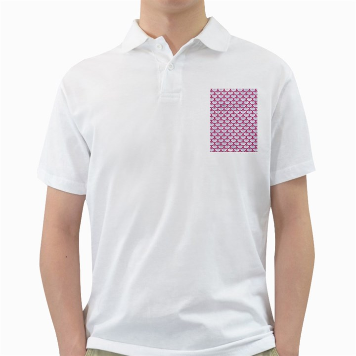SCALES3 WHITE MARBLE & PINK DENIM (R) Golf Shirts