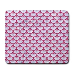 Scales3 White Marble & Pink Denim (r) Large Mousepads