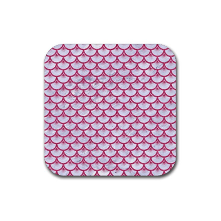 SCALES3 WHITE MARBLE & PINK DENIM (R) Rubber Coaster (Square)