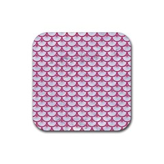 Scales3 White Marble & Pink Denim (r) Rubber Square Coaster (4 Pack)