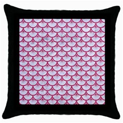 SCALES3 WHITE MARBLE & PINK DENIM (R) Throw Pillow Case (Black)