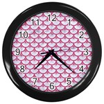 SCALES3 WHITE MARBLE & PINK DENIM (R) Wall Clocks (Black) Front