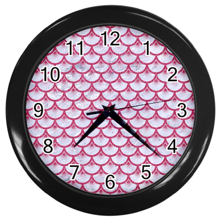 SCALES3 WHITE MARBLE & PINK DENIM (R) Wall Clocks (Black)