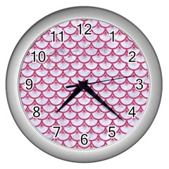 Scales3 White Marble & Pink Denim (r) Wall Clocks (silver)